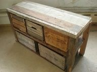pallet sideboard - deconstructed pallet wood to simple table w/old crates - beautiful!