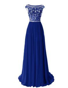 Tidetell Elegant Floor Length Bridesmaid Cap Sleeve Prom Evening Dresses Royal blue Size 16