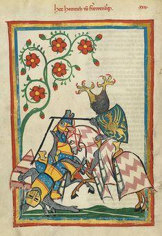 Codex Manesse fol. 61v: Heinrich von Frauenberg im Turnier, es sieht der Abbildung au fol. 52r ähnlich. Zürich, 1300-1320.