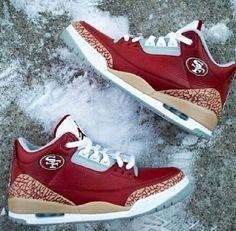 fddba4f3a Nike Air Jordan 3 Retro Custom 49ers Yeezy DeJesus Lebron gamma. 49er Shoes Nfl ShoesFootball ShoesSf ...