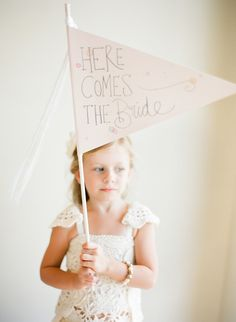 Here Comes The Bride || Wedding Banner || See the wedding on SMP: http://www.StyleMePretty.com/australia-weddings/2014/02/07/traditional-wedding-at-chandeliers-on-abbey/ Jemma Keech Photography