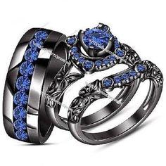 Sapphire Trio Set His Her Matching Engagement Ring 14k Black Gold FN 2.58 Carat #br925silverczjewelry #WeddingEngagementAnniversaryBrithdayPartyGift