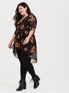 8c56bcd3dc1 Lexie - Black Floral Chiffon Babydoll Tunic. Plus Size Winter OutfitsCasual  ...