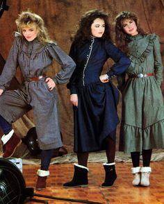 Hang Ten, Glamour magazine, September 1982 prairie 80s looks vintage fashion style dress gauchos green blue grey new wave boots peasant boho