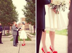Red Shoes that match the Red Tie? I think so. ALSO! I love a short wedding dress!