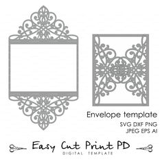 """Wedding invitation Pattern Card 5x7"""" Template Lace folds (studio V3 svg dxf ai eps png pdf) lasercut Instant Download Silhouette Cameo More"""