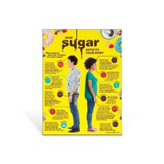 "18"" x 24"" Laminated What happens to your body when you eat or drink too much sugar? Discover the effects of sugar consumption from head to toe with the How Sugar Affects Your Body Poster. This colorful poster highlights sugar's role in various organs and body systems including your brain, teeth, heart, liver, pancreas, kidneys, skin, joints, and more.Child's poster version also available: How Sugar Affects A Child's Body Poster (#410344) Nutrition Education, Sport Nutrition, Nutrition Quotes, Proper Nutrition, Nutrition Plans, Nutrition Tips, Nutrition Classes, Healthy Nutrition, Watermelon Nutrition"