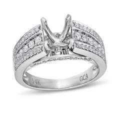 Vow to Wow Collection, 14k White Gold Round I1 Diamond Semi-Mounting Ring, 5/8 ctw