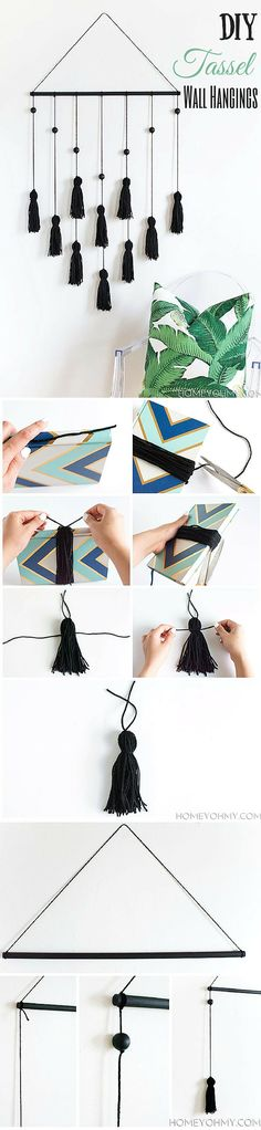 15 Easy DIY Projects to Make Your Home Decor Awesome - how to make #DIY Tassel Wall Hangings. Great idea! #homedecor