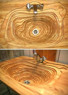 Topographical inspired wooden sink - 9GAG