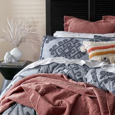 Bring an effortless style to your bedroom with the Rodriguez quilt cover. Made from natural cotton and pre-washed for extra softness, the Rodriguez quilt cover features a contemporary diamond pattern with detailed tufting. Coordinate with European pillowcases for a complete look. #contemporarybedding #duvetcover #doonacover