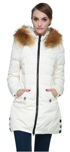 Orolay Women's Down Jacket with Removable Faux Fur Trim Hood Beige XS Faux Fur Jacket, Vest Jacket, Meghan Markle, Parka Outfit, Jackets For Women, Clothes For Women, Trends, Girls Wear, Fur Trim