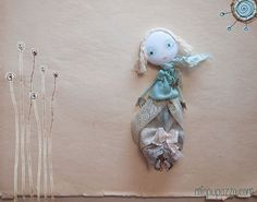 Art Doll Brooch Mint Boho Chic Girl mixed media by miopupazzo,