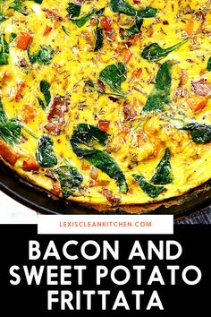 Hello perfect weekend brunch! This Bacon and Sweet Potato Frittata is just what a lazy Sunday morning breakfast calls for. It's quick and simple and also free from dairy and gluten. And bonus: it's freezer-friendly for a make-ahead breakfast. Gluten Free Recipes For Breakfast, Delicious Breakfast Recipes, Brunch Recipes, Fall Recipes, Baking Recipes, Real Food Recipes, Healthy Recipes, Lazy Sunday, Sunday Morning