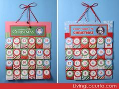 Free Printable #Christmas Advent Calendars by Amy Locurto. Personalize it for your kids. LivingLocurto.com