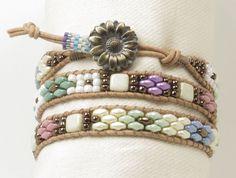 TRIPLE WRAP LEATHER Bracelet-Pastel Superduos-Spring Bracelet-Pastel Bracelet-Boho-Chic-Hippie-Leather Wraps-Czechmates Tiles-(TW7) by CinfulBeadCreations on Etsy