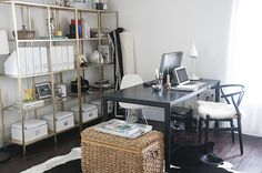 Office Space for Two - Gold spray painted Ikea book case