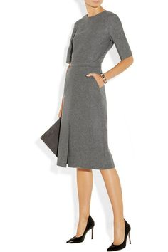 Victoria Beckham grey wool felt dress | Skirt the Ceiling | skirttheceiling.com
