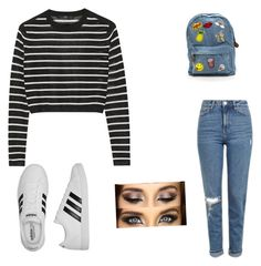 """""""Stripes"""" by taylorgarnett on Polyvore featuring TIBI, Topshop and adidas Polyvore App, Topshop, Outfit Ideas, Stripes, Adidas, Outfits, Image, Fashion, Moda"""