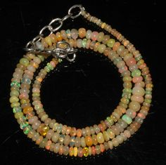 """34 Ctw 1Necklace 2to5mm 16"""" Beads Natural Genuine Ethiopian Welo Fire Opal 69174"""
