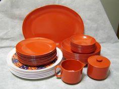 Vintage Oneida Dishes Melamine Orange Dinnerware, $56.99/Set of 56-pcs at kcwab on ebay, 6/27/15