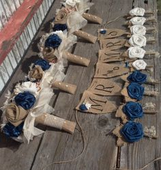 Handmade natural and ivory burlap with blue by BurlapandLacePlace
