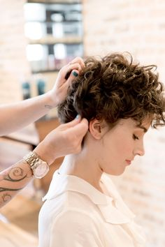 3 Chic & Easy Ways To Style Short Hair #refinery29  http://www.refinery29.com/50513#slide-17  Take a little pomade and begin to separate the curls to create a romantic look. Make sure to evenly distribute the product so that you don't end up with any frizzy tendrils. ...