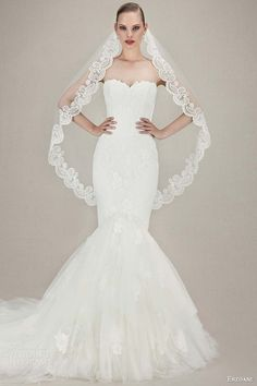 enzoani wedding dresses 2016 bridal kendra strapless sweetheart mermaid gown tulle alencon chantilly lace