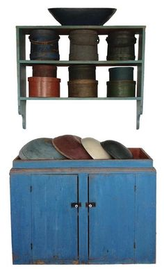 """Early 19th century unusual New England Drysink, retaining it's vibrant dry robin egg blue paint, bittersweet red painted well. with plank doors with two chamfered batons, one board square head nail construction. From a private collection in Maine, circa 1820 20"""" deep x 33"""" tall x 43 1/2"""" wide"""