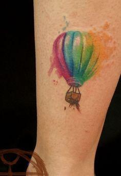 Hot air balloon watercolor tattoo