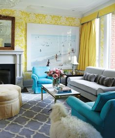 Philip Gorrivan Design Living Rooms The Vase Wallpaper Yellow David Hicks