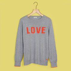 Grey & Red LOVE Knitted Jumper  SM x The Bonniemob