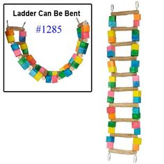 Bonka Bird Toys 1285 Huge 10 Bar Ladder Swing Bird Toy parrot cage toys cages macaw amazon cockatoo 10 Bars *** Want additional info? Click on the image.