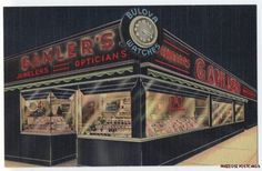 Linen postcard of Great Gamler's Jewelers,  Rochester, NY. Night view with neon.