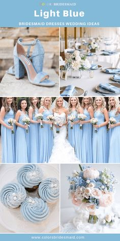 Blue Wedding-Light Blue Bridesmaid Dresses, Ivory and Pastel Pink Bouquets Sky Blue Weddings, Pastel Pink Weddings, Pastel Blue Wedding, Light Blue Wedding Dress, Blue Themed Weddings, Pastel Blue Dress, Periwinkle Wedding, Tiffany Blue Weddings, Light Blue Bridesmaid Dresses