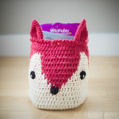 Adorable Crochet Fox Basket!  Perfect for nurseries and kids' rooms!