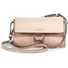 Chloe Faye Leather & Suede Chain Wallet ($795) ❤ liked on Polyvore featuring bags, wallets, apparel & accessories, cement pink, genuine leather wallet, chloe wallet, suede wallet, chain wallet and credit card holder wallet