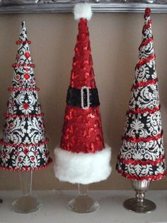 black red white christmas cone trees by SusieAnneie Types Of Christmas Trees, Cone Christmas Trees, Christmas Colors, Xmas Tree, Christmas Holidays, Christmas Ornaments, White Christmas, Christmas Candy, Christmas Table Centerpieces