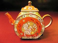 "Charlotte DiVita Limited Edition ""Cool Cats"" Miniature Enamel Handpainted Teapot"