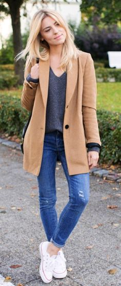 #fall #outfits  women's brown cardigan and blue jeans