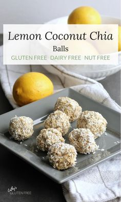 Lemon Coconut Chia Balls - dairy free, gluten free, no bake Gluten Free Snacks, Dairy Free Recipes, Whole Food Recipes, Snack Recipes, Whole Food Desserts, No Bake Snacks, Protein Recipes, Protein Snacks, Potato Recipes