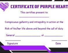 purple heart certificate templates
