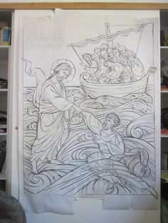 Icon Carving of Christ Pulling St-Peter from the Water. Christian Drawings, Christian Art, Byzantine Icons, Byzantine Art, Religious Icons, Religious Art, Russian Icons, Catholic Art, Art Icon