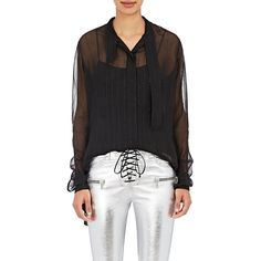 Ben Taverniti Unravel Project Women's Scarf-Neck Blouse ($1,180) ❤ liked on Polyvore featuring tops, blouses, black, striped top, long sleeve tops, stripe top, striped blouse and striped long sleeve top