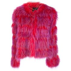 SLY 010 racoon fur coat ($1,951) ❤ liked on Polyvore featuring outerwear, coats, jackets, fur, long sleeve coat, fur coat, purple fur coat and purple coat