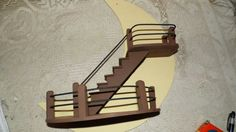 Vintage 40's 50's Wood Half Moon/Stairs Shelf by FabulousFinds1