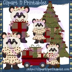 Panda Christmas Girls- #Clipart #ResellableClipart #ResellerClipart #Christmas #Pandas #ChristmasTree #Wagon #CandyCanes #Gifts #Presents