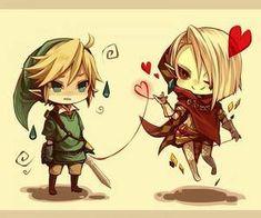 Ghirahim et Link chibi. GhiraLink ~ Awww this is cute!
