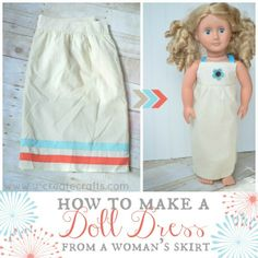 "Make a super simple dress for my daughter's 18"" doll {American Girl style}.  This skirt has a side zipper which I made the back zipper of the doll's dress.  It also has a wide waistband which I made into the yoke of this sleeveless dress.  Seriously, buying the ""fabric"" already done like that {and for dirt cheap} made sewing this dress so easy!"