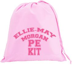 Personalised College Text Large Pink Drawstring Bag